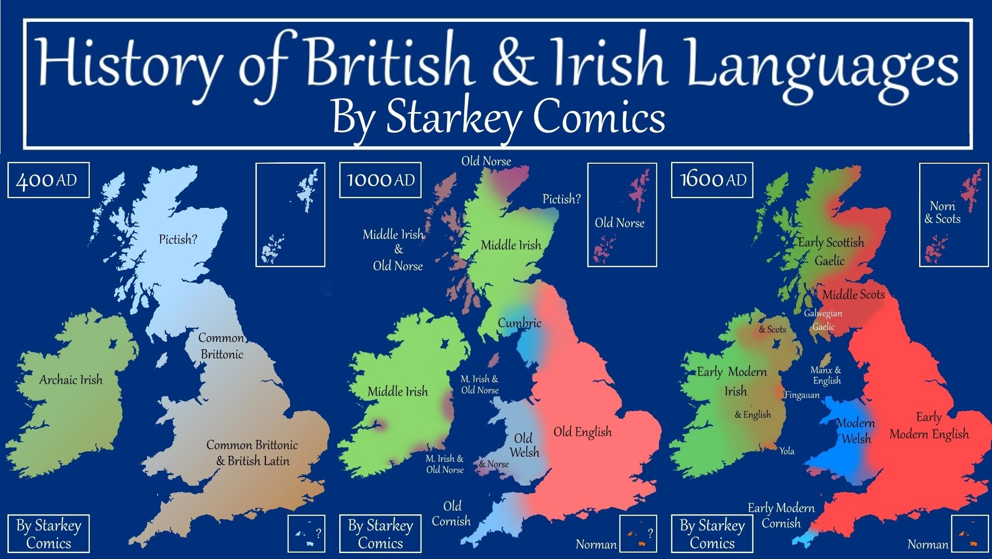 Map Of Ireland Gaeilge.A Brief History Of British And Irish Languages Starkey Comics